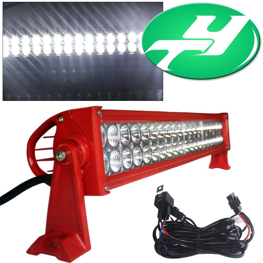 "YINTATECH Red Body 24"" 120W Spot Flood Combo LED Light Bar Work Lamp Light Bar 4WD SUV UTE Driving Offroad Truck ATV Pick-Up Boat Free Wiring Kits"