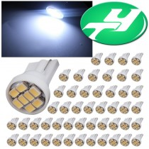 YINTATECH 50pcs T10 Wedge 8-SMD 1206 Cool White 7000K LED Bulbs 194 168 175 2825 W5W 158 161