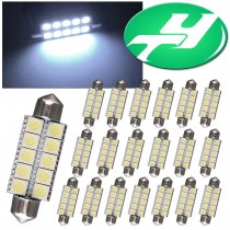 "YINTATECH 20pcs Super Bright 44mm(1.73""inches) 5050 10-SMD Cool White LED Interior Map Dome Lights 578 211-2 212-2 579 214-2 569"