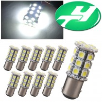 YINTATECH 1157 BAY15D 27SMD 5050 Car RV Turn Signal Backup Reverse Parking LED Light Bulbs 7528 2057 2357 White 6000K DC 12V (10 Pack)