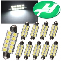 "YINTATECH 10PCS 44mm(1.73""inches) 5050 10-SMD White Festoon Light Bulbs 578 211-2 212-2 579 214-2 569"